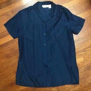 Vintage 90's DVF Washable Silk Blouse Sz S NAVY
